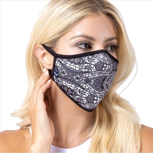 Black Damask Print Face Mask