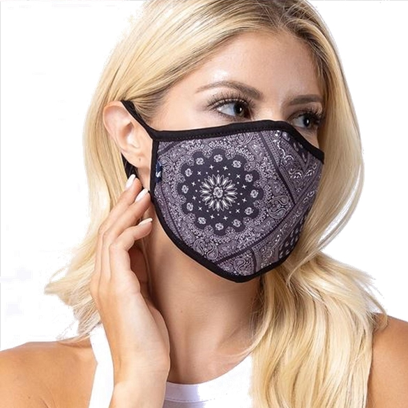 Black Aztec Print Face Mask - 6 Pack