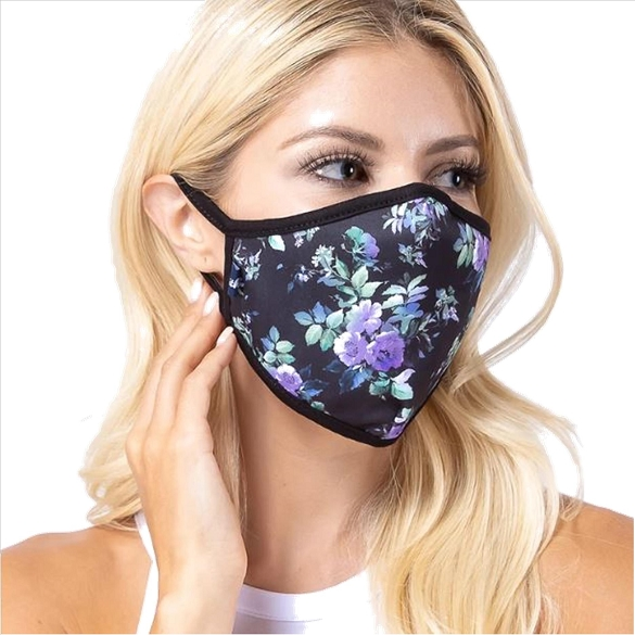 Purple Floral Print Face Mask - 3 Pack