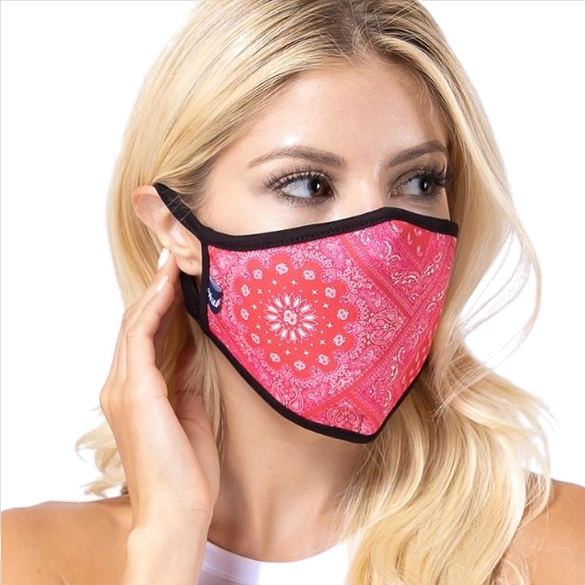 Red Aztec Print Face Mask - 9 Pack