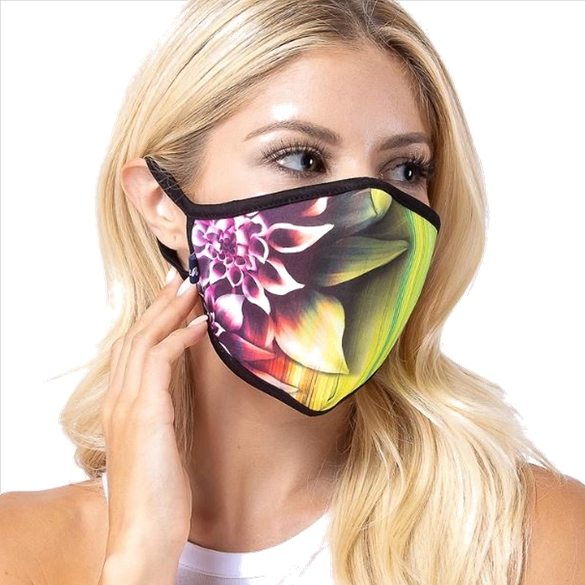 Yellow Line Flower Print Face Mask