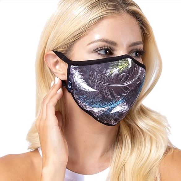 Purple Feather Print Face Mask  - 6 Pack