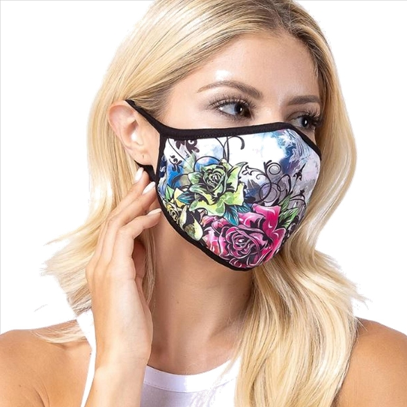 Pink Plant Rose Face Mask
