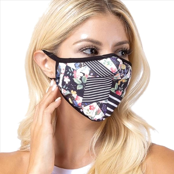 Floral Multi-Stripe Print Face Mask - 3 Pack