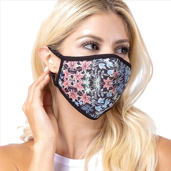 Black Tropical Print Face Mask