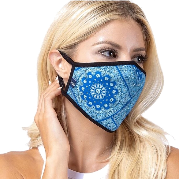 Blue Aztec Print Face Mask - 6 Pack