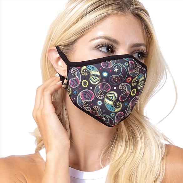 Black Paisley Print Face Mask - 6 Pack
