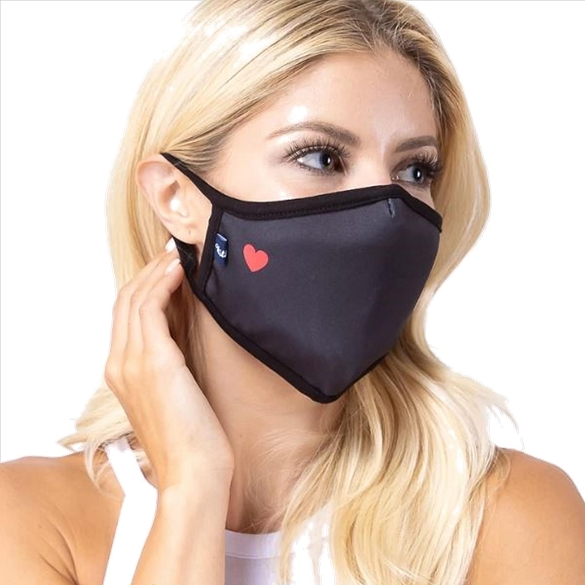 Small Red Heart on Black Face Mask -3 Pack