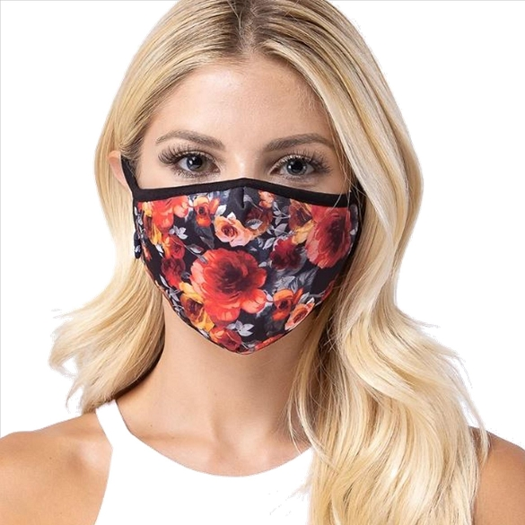Red Rose on Dark Print Face Mask