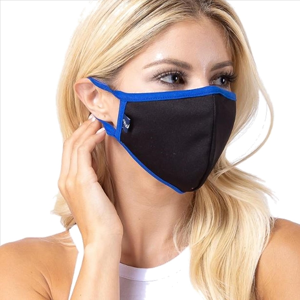 Black / Royal Solid Filter Washable and Reusable Face Mask