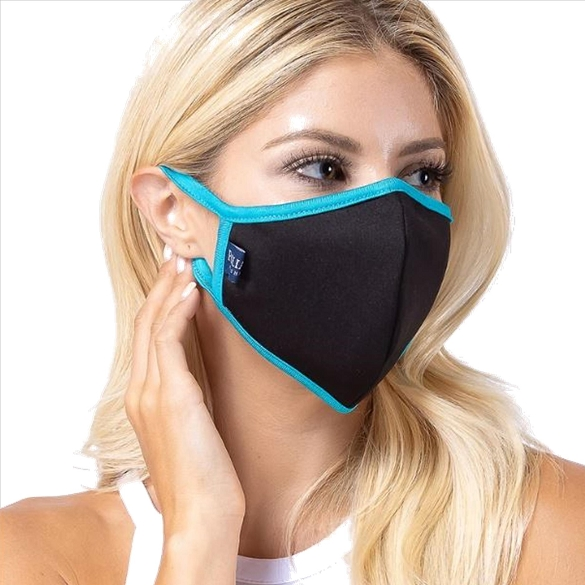 Black / Turquoise Solid Filter Washable and Reusable Face Mask