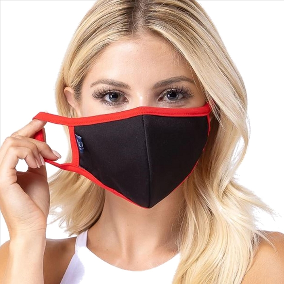 Black / Red Solid Filter Washable and Reusable Face Mask