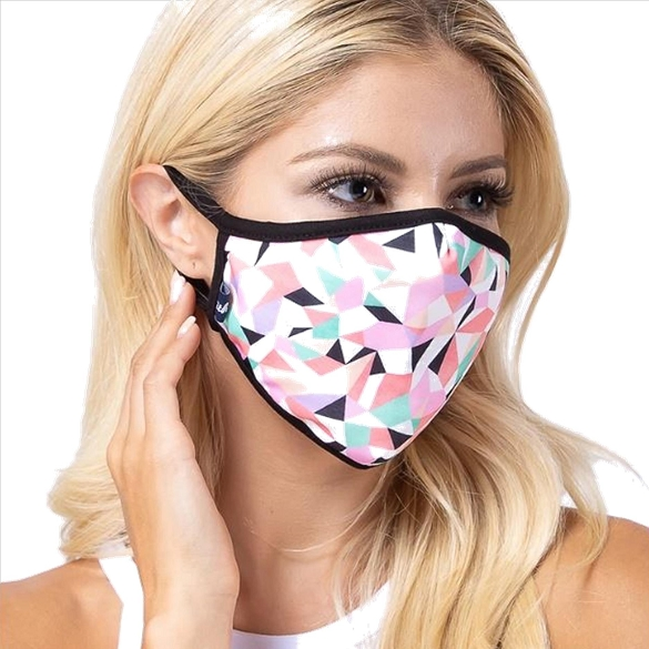 Pink Geometric Print Face Mask