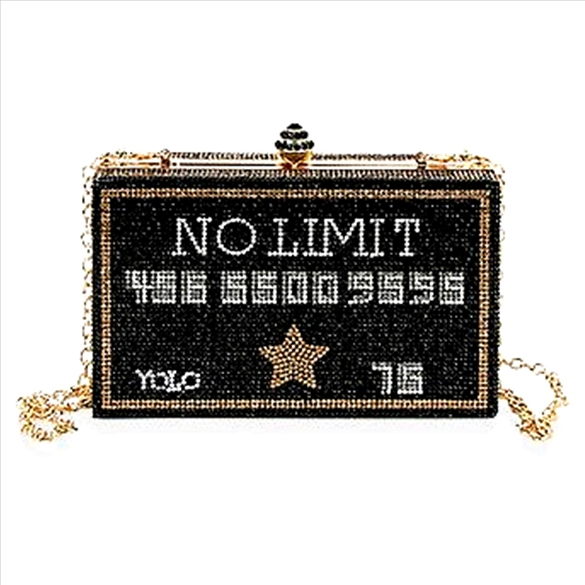 No Limit Rhinestone Bling Credit Card Evening Bag