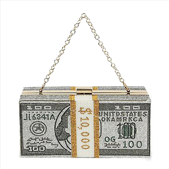 Rhinestone Money Bags Bling Evening Bag