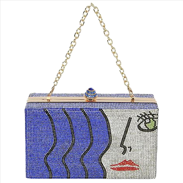 Art Deco Rhinestone Bling Evening Bag - Blue
