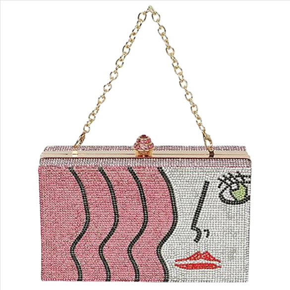 Art Deco Rhinestone Bling Evening Bag - Pink