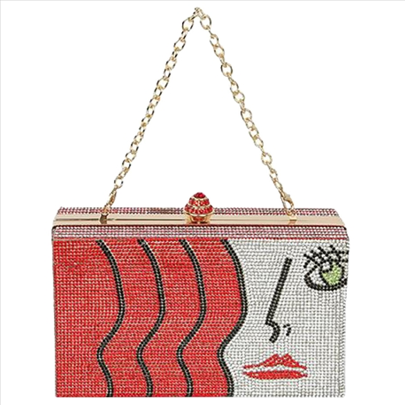 Art Deco Rhinestone Bling Evening Bag - Red