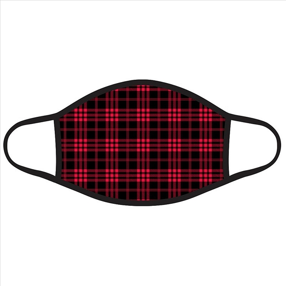 Red and Black Plaid Christmas Face Masks #2713