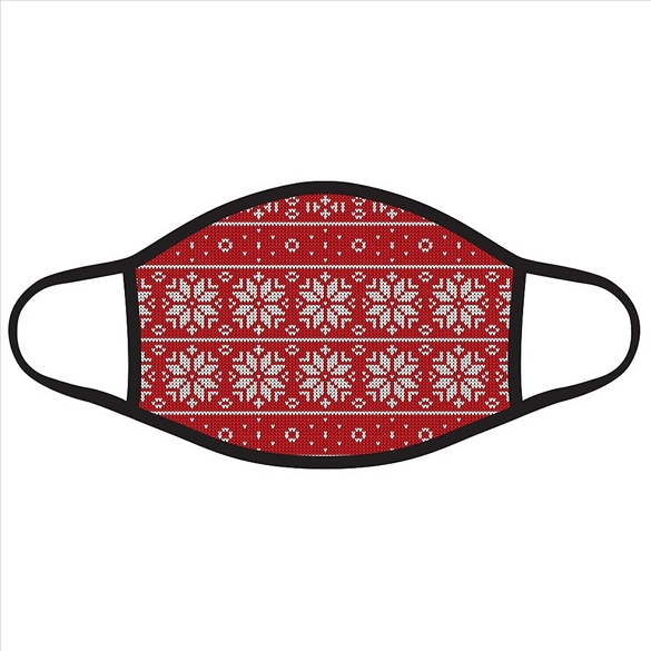 Snowflakes on Red Knit Print Christmas Face Masks #2720