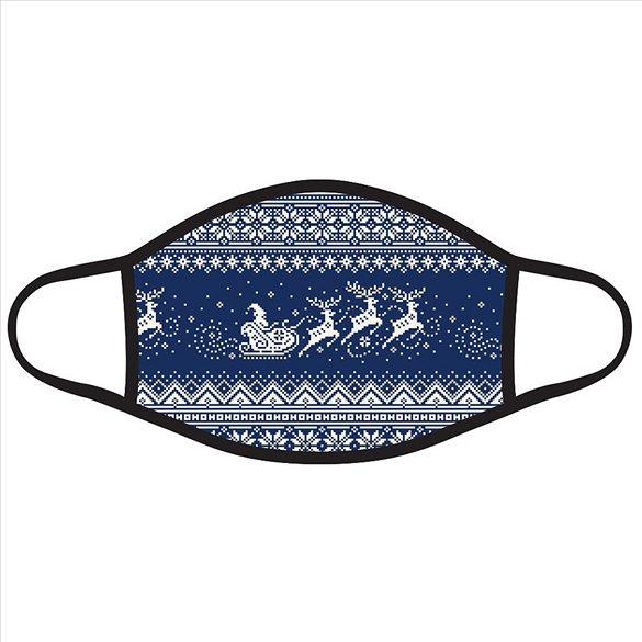 Sleigh and Reindeer on Navy Christmas Face Masks #2725 IN STOCK