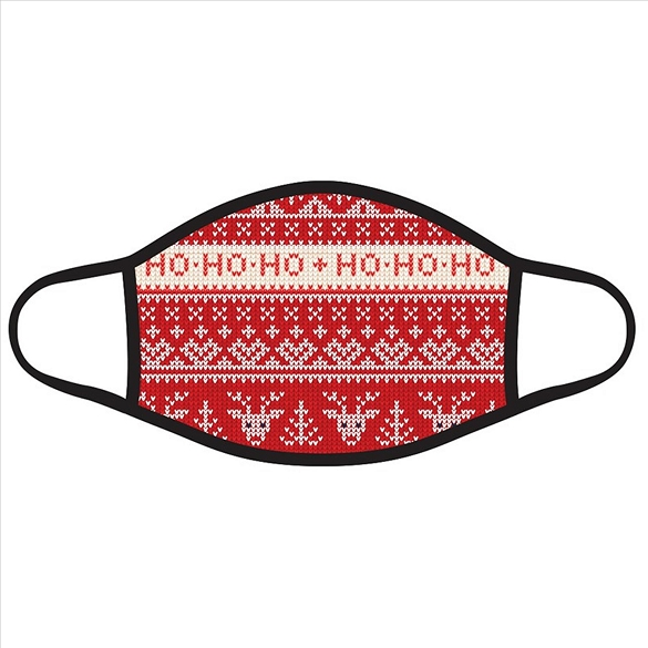 Ho Ho Ho on Red and White Christmas Face Masks #2727