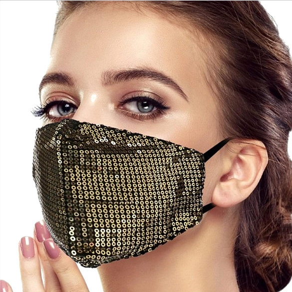 Sparkling Sequin Face Masks - Gold