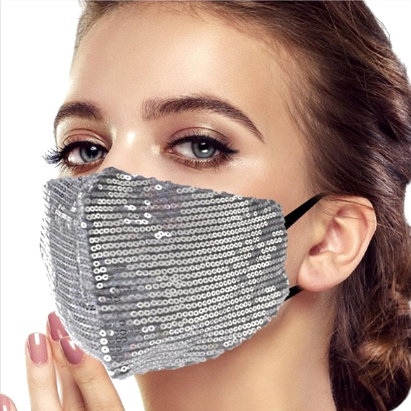 Sparkling Sequin Face Masks - Silver