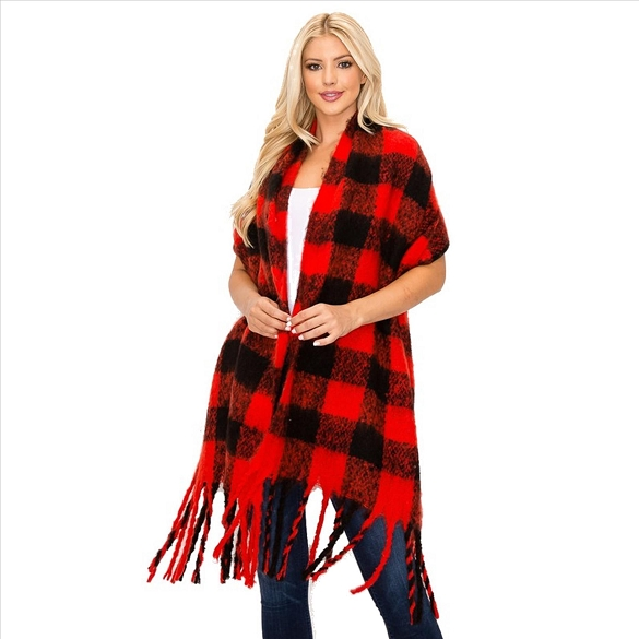 Buffalo Plaid Print Scarves - Red and Black