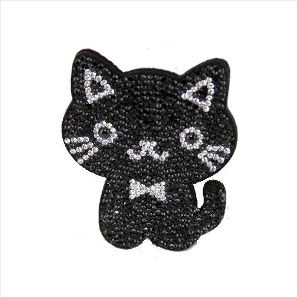 Bling Rhinestone Kitten Pin Brooch - Black