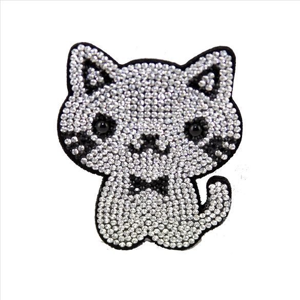 Bling Rhinestone Kitten Pin Brooch - Silver