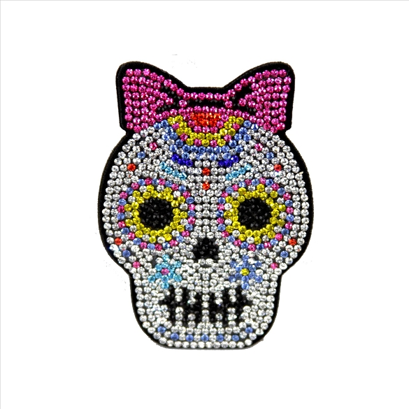 Bling Rhinestone Mrs. Sugar Skull Pin Brooch
