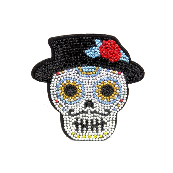 Bling Rhinestone Mr. Sugar Skull Pin Brooch