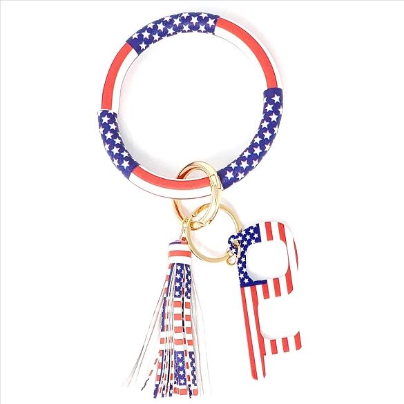 Tasseled Bangle Wristlet Germ Free Touchless Key - Flag Print