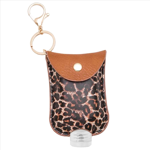 Hand Sanitizer Holder Key Chain - Leopard Print Brown
