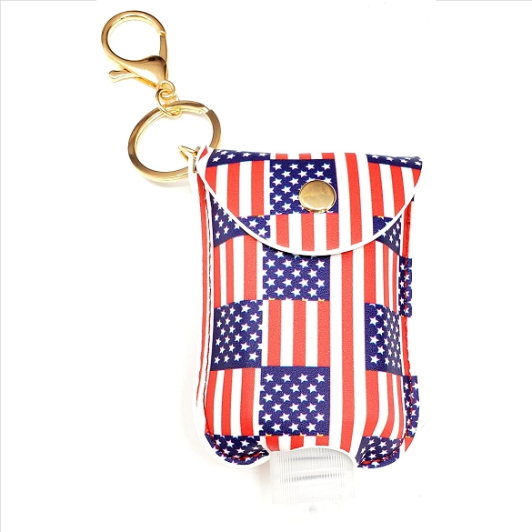 Mini Sanitizer Holder and Key Chain - American Flag Print