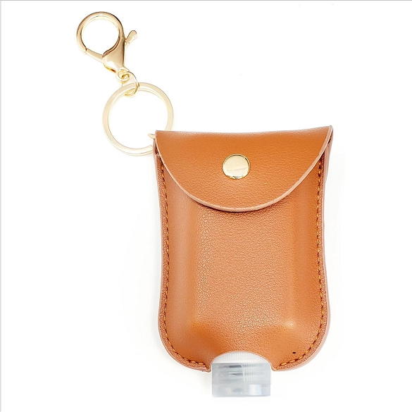 Mini Sanitizer Holder and Key Chain - Brown