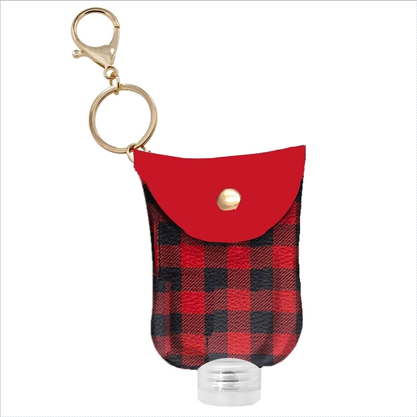 Hand Sanitizer Holder Key Chain - Red and Black Buffalo Print
