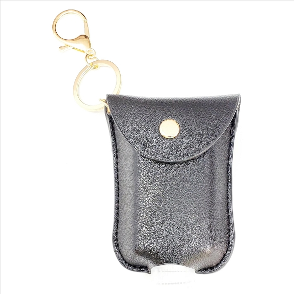 Mini Sanitizer Holder and Key Chain - Black