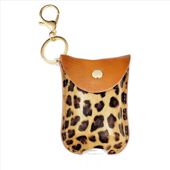 Mini Sanitizer Holder and Key Chain - Brown Leopard Print