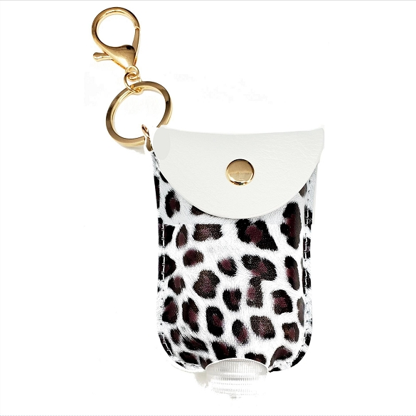 Mini Sanitizer Holder and Key Chain - Ivory Leopard Print