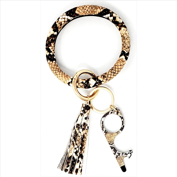 Tassel Bangle with Germ Free Touchless Key - Snake Print Brown