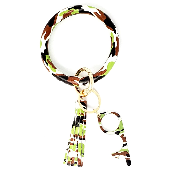 Tassel Bangle with Germ Free Touchless Key - Camouflage