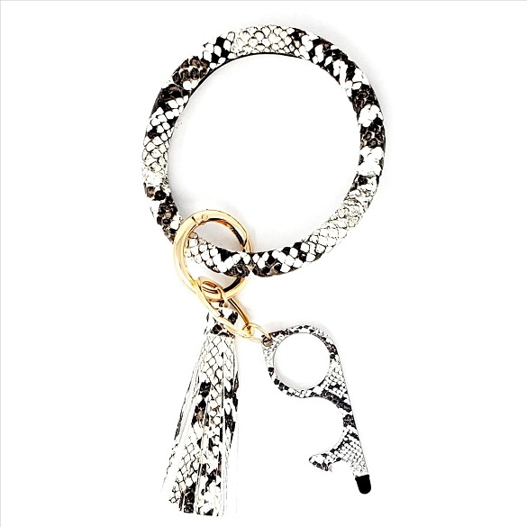 Tassel Bangle with Germ Free Touchless Key - Snake Print Black White
