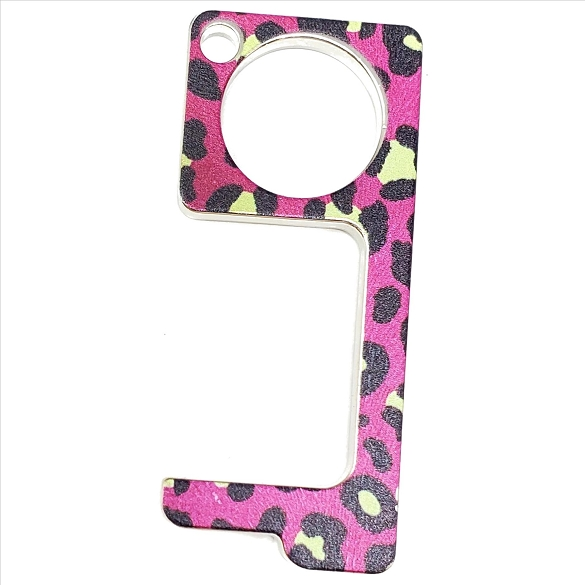 Germ Free Contactless / Touchless Key - Fuchsia Leopard
