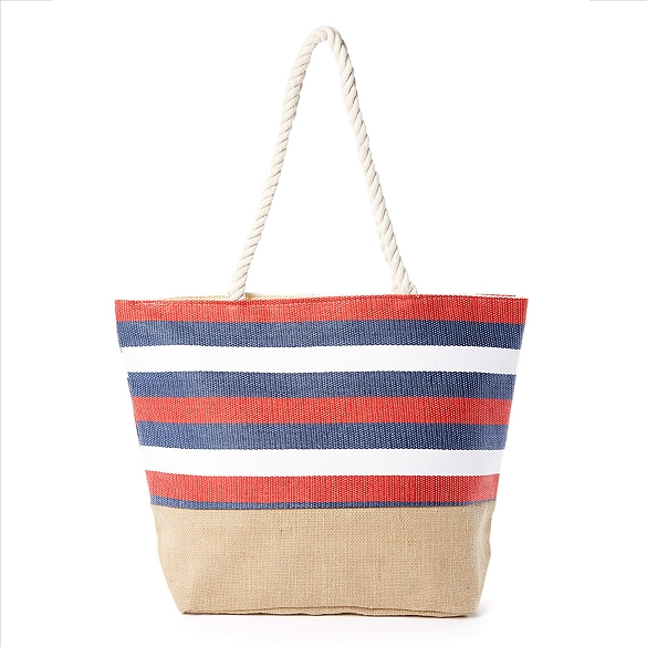 Red White and Blue Striped Beach Bag