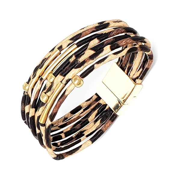Animal Print Magnetic Clasp Bracelet - Leopard Brown