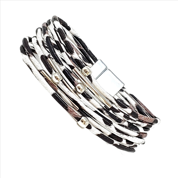 Animal Print Magnetic Clasp Bracelet - Leopard Grey