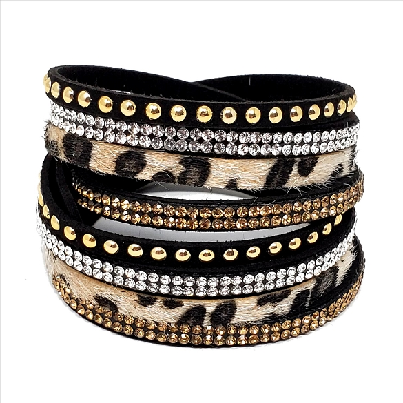 Animal Print Wrap & Snap Bracelet - Leopard