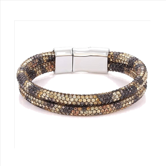 Bling Rhinestone Magnetic Clasp Bracelet - Leopard Brown